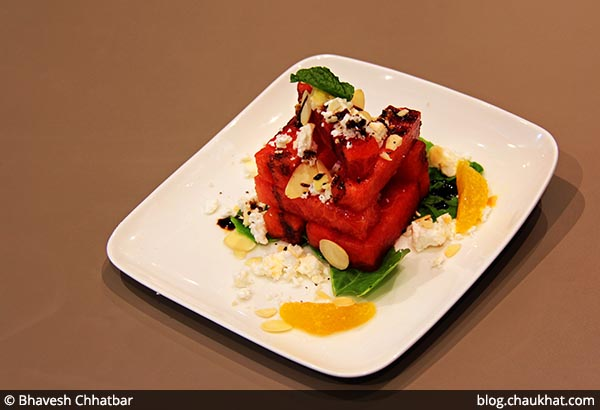 Watermelon and Goat Cheese Stack served at 212 All Day Cafe & Bar at Phoenix Marketcity in Pune