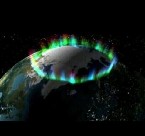 Image of auroras around the north pole (Courtesy: NASA)