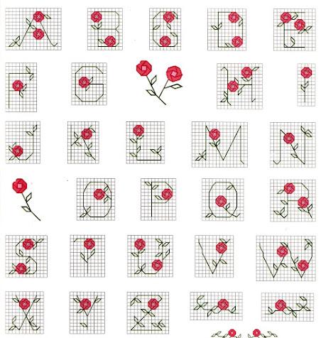alfabeto a punto scritto + punto croce con le rose.