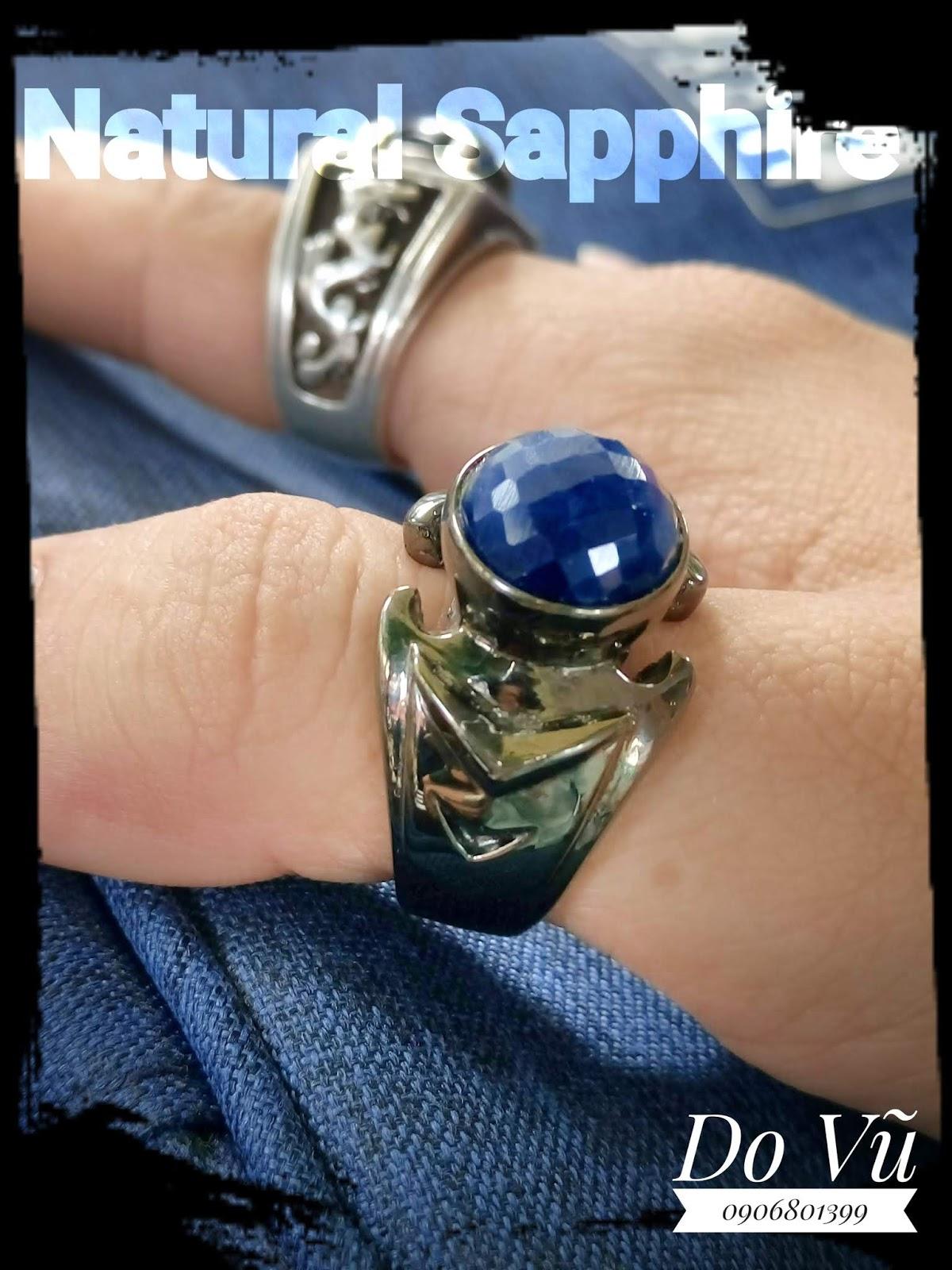Nhẫn nam đá Sapphire thiên nhiên bạc đen