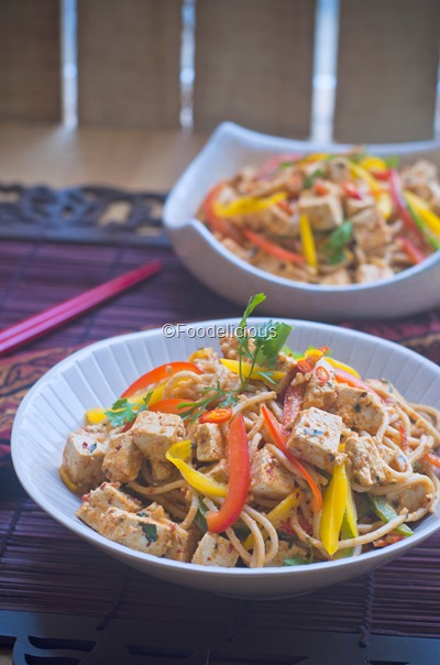 Spicy Soba Noodles & Tofu Salad in Peanut Butter and Basil dressing1