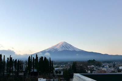 View from the observation deck at our ryokan Wakakusa no Yado Maruei. Mount Fuji, Fujisan!
