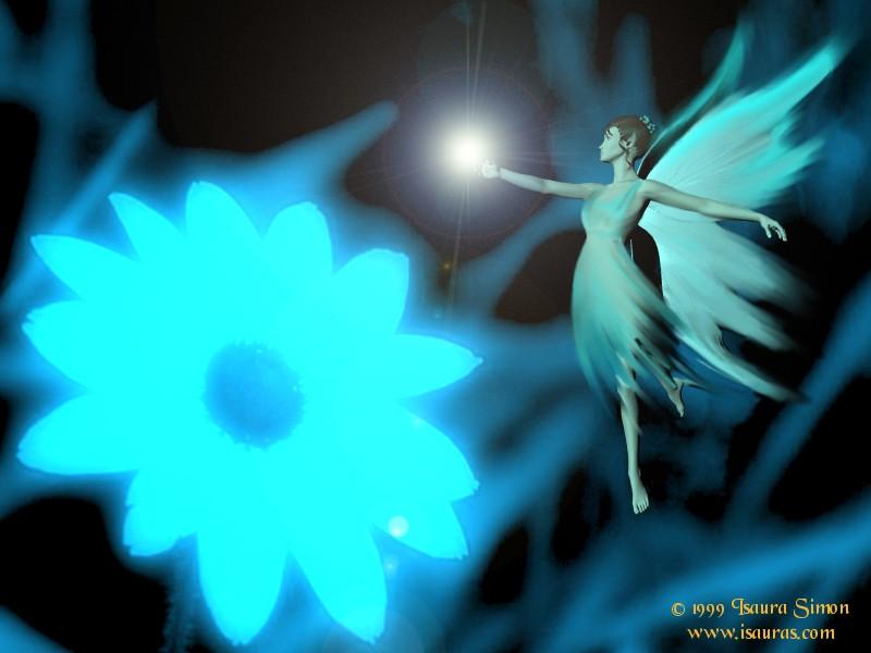 Fairy And A Blue Flower Star, Fairies Girls