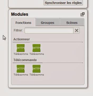 Les modules dans le créateur de règles