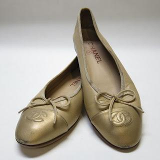 Chanel Bronze Cap-Toe Ballerinas