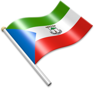 The Equatorial Guinean flag on a flagpole clipart image