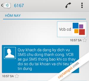 Hướng dẫn đăng ký SMS Banking Vietcombank tại nhà