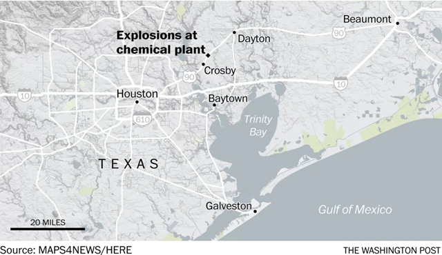 Map showing the location of the Arkema chemical plant in Crosby, Texas, which was crippled by floodwaters from Hurrican Harvey and experienced explosions on 31 August 2017. Graphic: Maps4News / The Washington Post