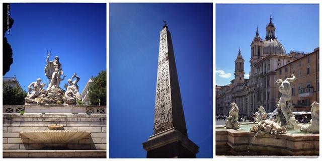 Fuente de Neptuno obelisco Plaza Navona Roma