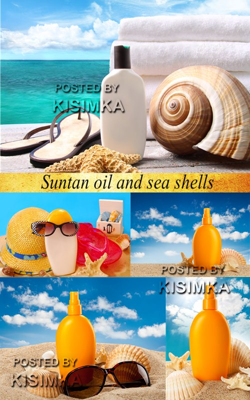Stock Photo: Suntan oil and sea shells