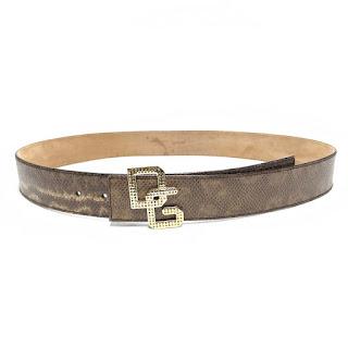 Dolce & Gabbana Embossed Leather Belt