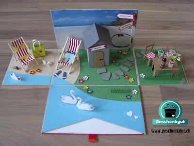 Geschenkbox Explosionsbox Überraschungsbox Hochzeit Reisegutschein Grotto Tessin Strand