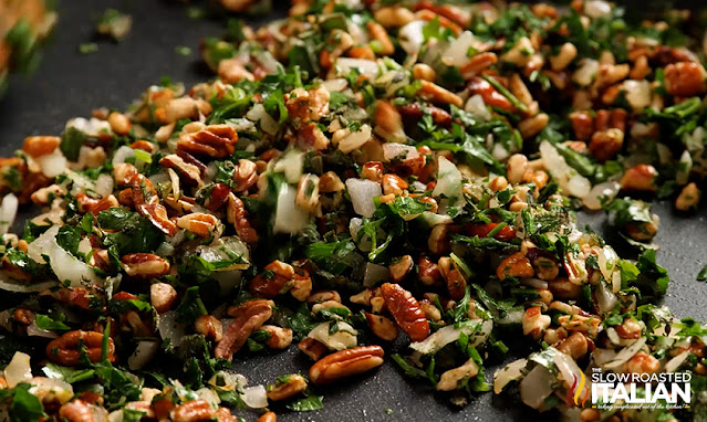 herbs, pecans and onions