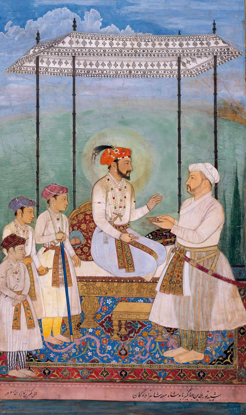 Shah Jahan is accompanied by his three sons