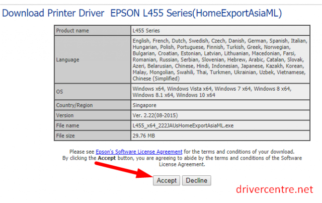 click accept to get Epson L456 printer driver