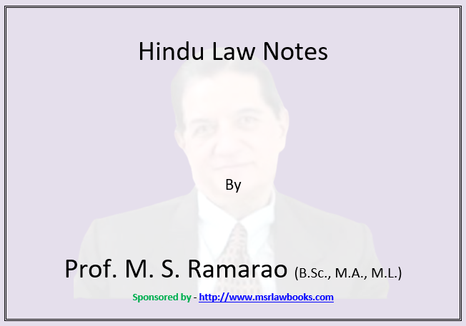 Hindu Law Notes | Sponsored by MSR Law Books