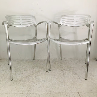 Jorge Pensi Style Modernist Aluminum Stacking Chair Pair #1