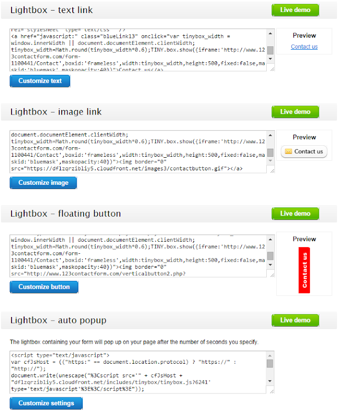 Publish form in lightbox