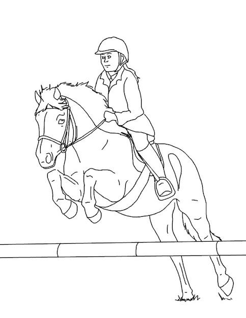 Horse And Rider Lines  By Equineribbon On Deviantart  Woman On Jumping  Horse Coloring Pages