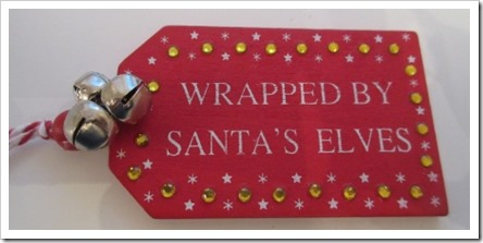 Wooden Wrapped By Elves Tag with Jingle Bells