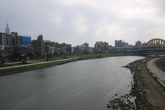 Keelung (Jilong) River and Taipei 101 in Taipei, Taiwan