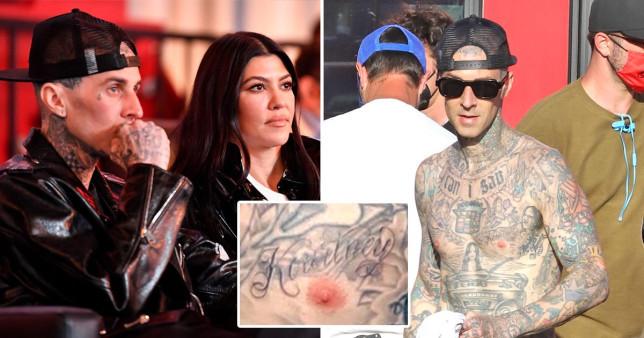 Travis Barker gets girlfriend, Kourtney Kardashian's name Boldly tattooed on his chest Above his Nips (photos)