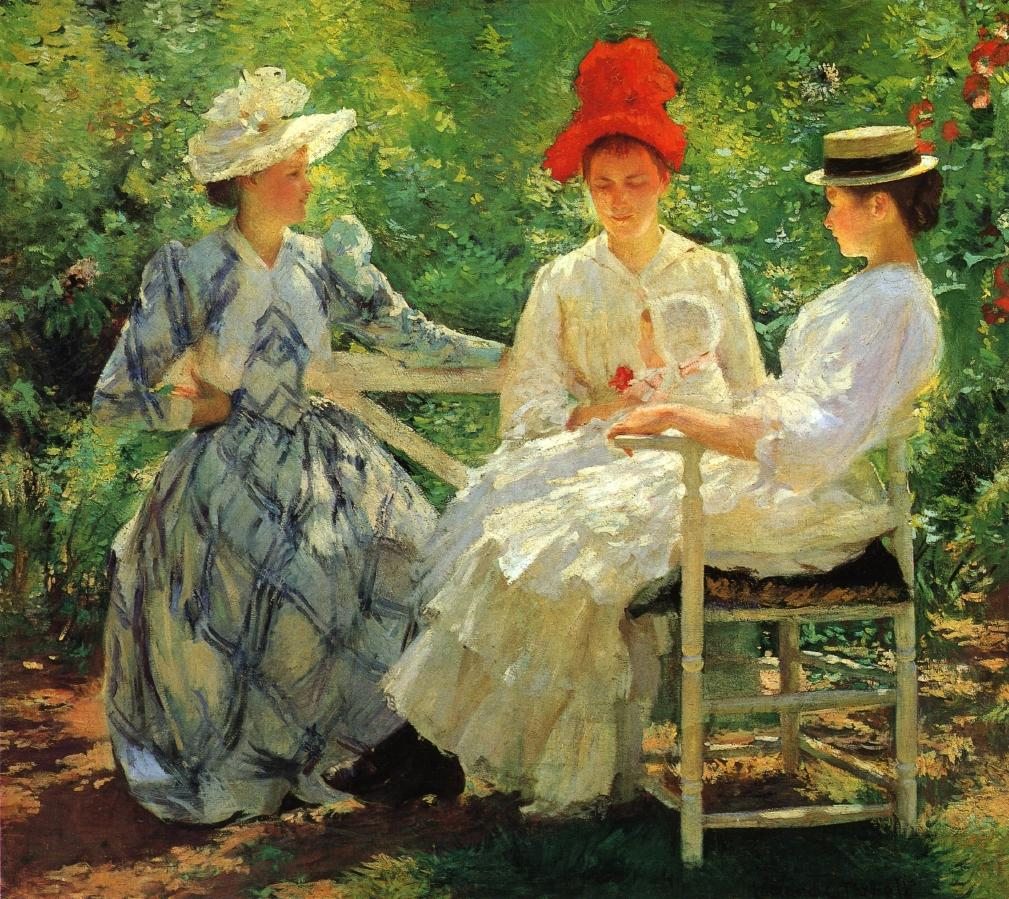Edmund Charles Tarbell - In a Garden (aka The Three Sisters, A Study of June Sunlight)