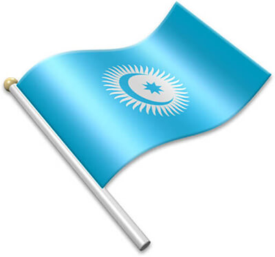 The Turkic Council flag on a flagpole clipart image