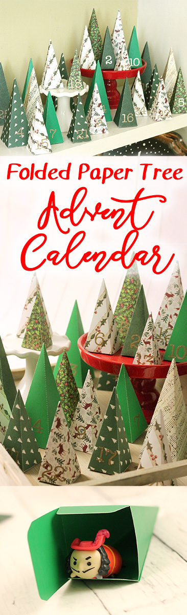 Create little three dimensional paper trees out of paper or cardstock and fill them with treats for the most adorable DIY advent calendar.  A little paper forest christmas countdown that looks just as cute on the shelf as it is fun to open!