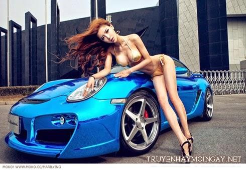 Lý Dĩnh Chi Can Lộ Lộ khoe ngực đẹp bên siêu xe