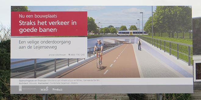 visualisatiebord onderdoorgang spoor Leijenseweg Bilthoven