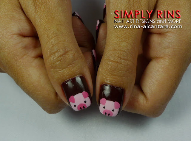 Little Pink Pigs Nail Art Design 04