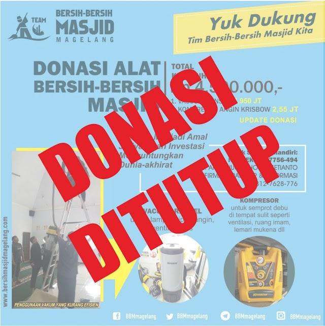 Alhamdulillah, Donasi pembelian Vacum Ransel dan Kompresor Angin telah terpenuhi