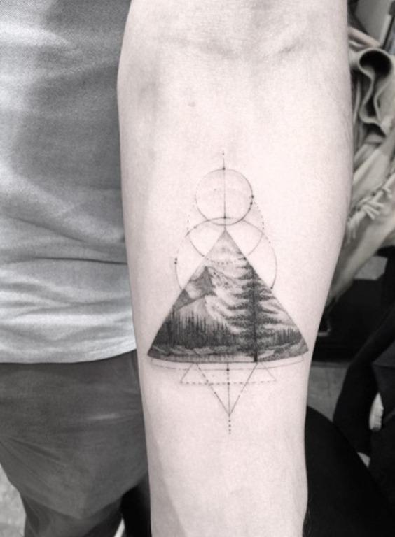 Triangular trabalho de paisagem