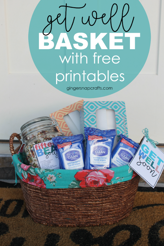 get well soon basket with free printables at GingerSnapCrafts.com #getwell #gift #giftideas