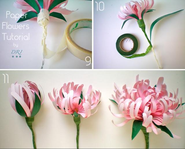 Fiori fiore di carta crisantemi facili come realizzare for Fiori di cartoncino