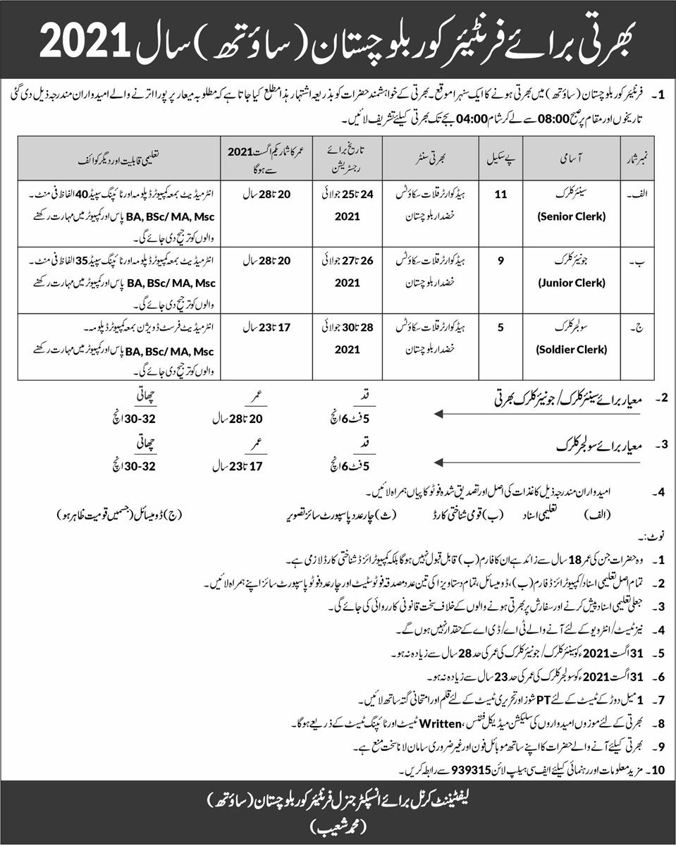 Frontier Core Balochistan (South) Jobs 2021 (200 Posts) Senior Clerk, Junior Clerk, Soldier Clerk