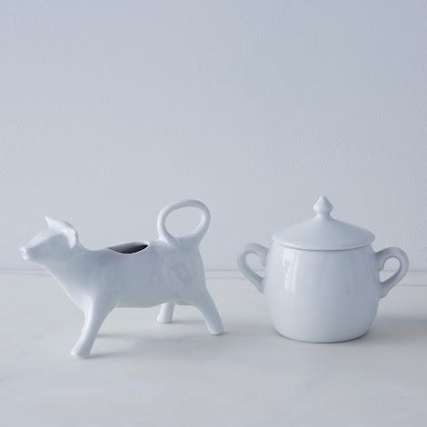 Cow Creamer and Sugar Bowl Set