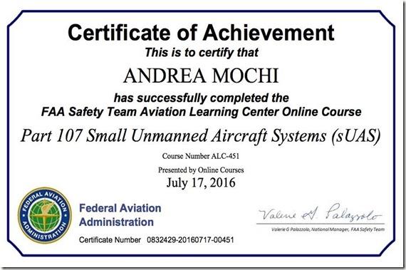 certificato faa droni italia