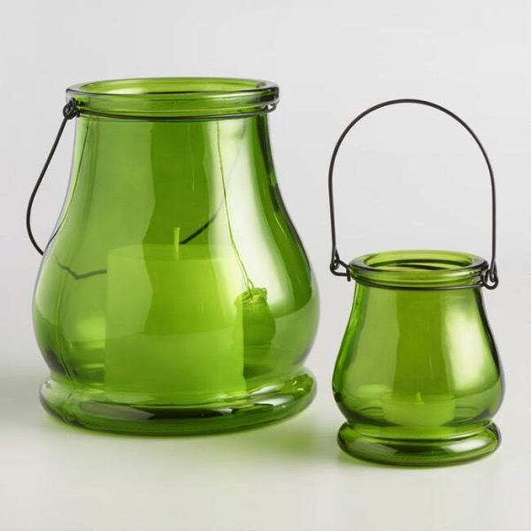 green teardrop lanterns