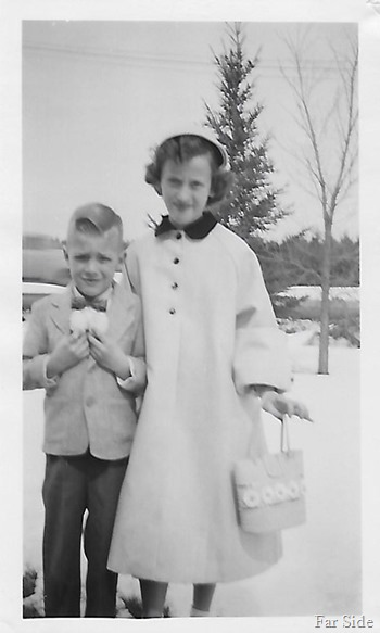 Janice and Eugene about 1955 Easter eggs