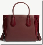 Longchamp small dark red leather and suede Tote