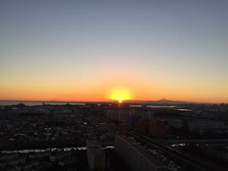 2016年最後の大晦日の新浦安からの日没