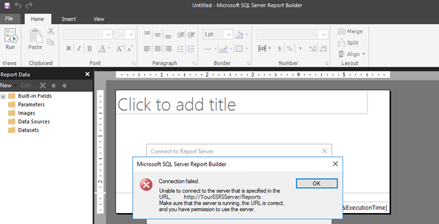 How to solve Reporting Services 2016 SSRS - Report Builder