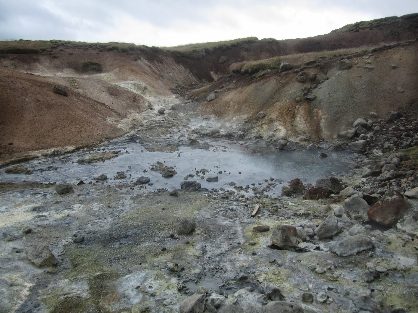 Bubbling, smelly mud pools at Krysuvic, Reykjanes peninsula. Lots of precipitated sulphur on ground. VK
