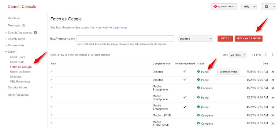 Google fletch và render