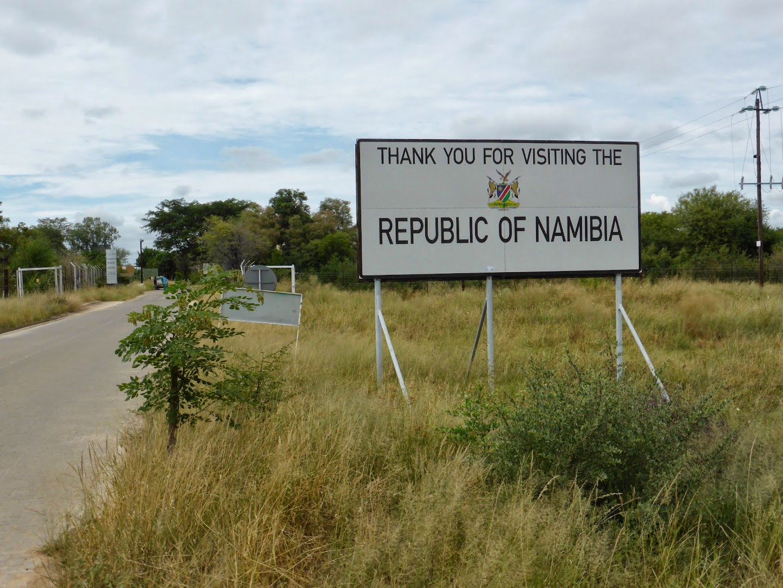 De grens Namibia-Botswana