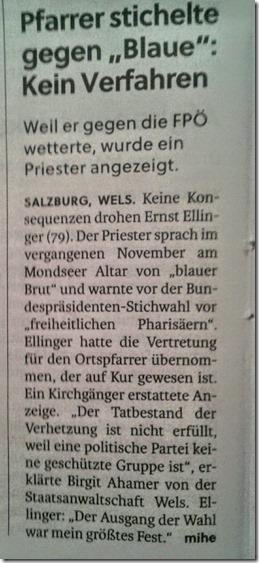 Pfarrer stichelt gegen FPÖ