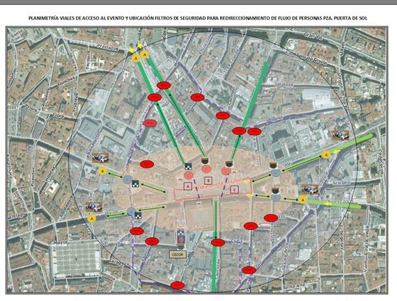 Dispositivo de seguridad en la Fiesta de Fin de Año en la Puerta del Sol