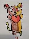 Bear holding heart free drawing